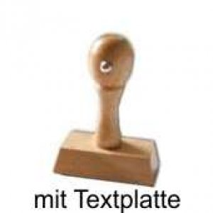 Holzstempel Griff eckig 20mm Höhe - Breite wählbar - inkl. Textplatte