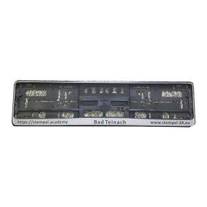 2 Stück Kennzeichenhalter Set - schwarz/silber - inkl. Lasergravur